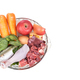 Overhead view on ingredients of barf raw food recipe for dogs consisting meat, organs, fish, eggs - PhotoDune Item for Sale