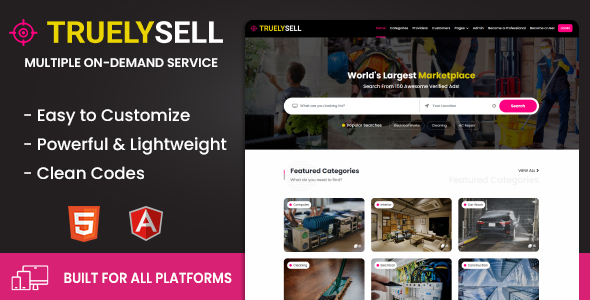 Truelysell - Service Marketplace and Service Providers Listing Template (HTML + Angular)