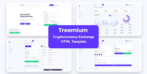 Treemium – Cryptocurrency Exchange Dashboard Template