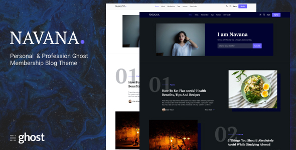 Navana - Personal and Professional Membership Ghost Blog Theme