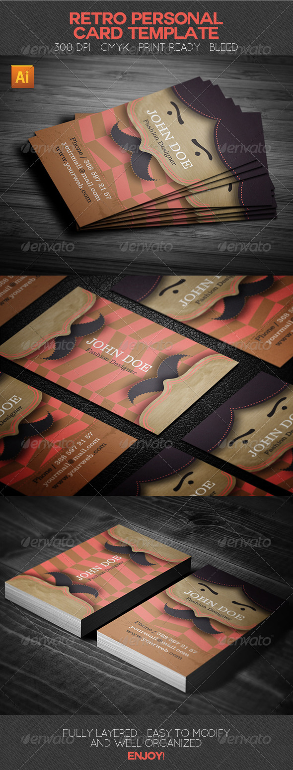 Retro Personal Card Template - Retro/Vintage Business Cards