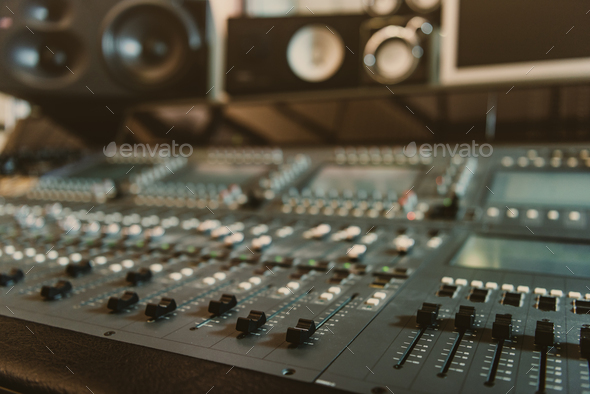 close-up shot of analog graphic equalizer at recording studio - Stock Photo - Images