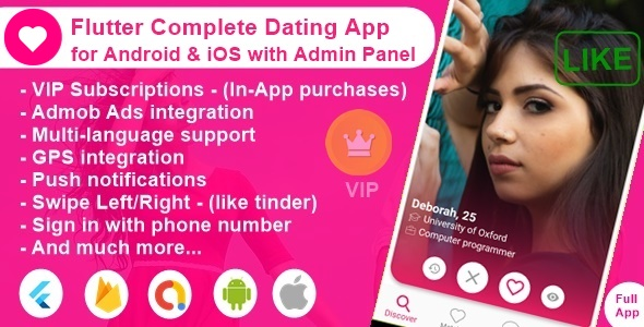 Flutter Complete Dating App for Android & iOS with Admin Panel