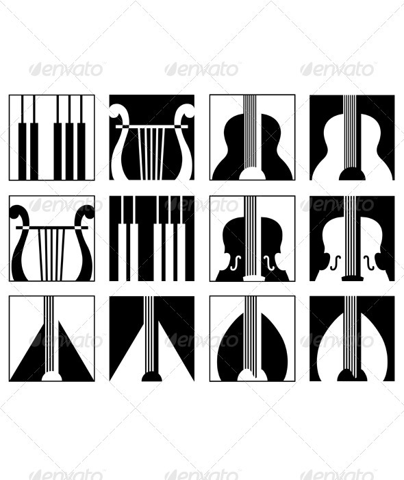Music icons set - Decorative Symbols Decorative