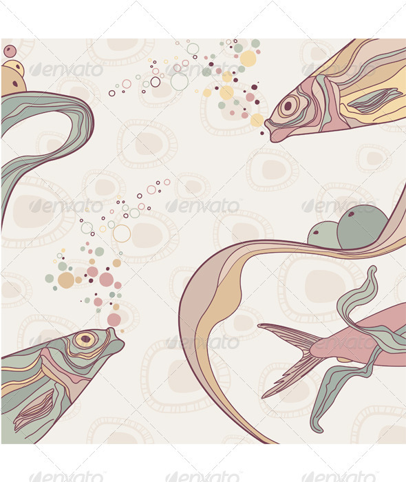 Vintage fish and wive ornamental stripes - Backgrounds Decorative