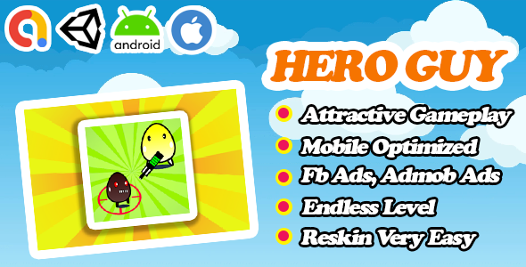 Hero Guy - Action Survival Unity Game Template - Admob + Facebook Ads - Ready To Publish