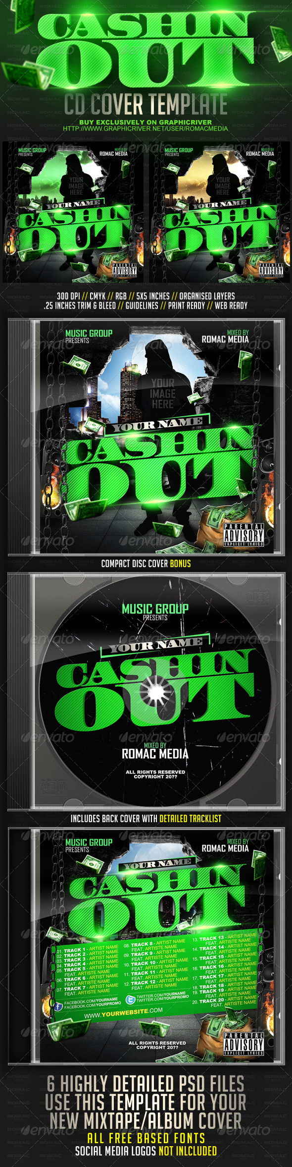 Cashin Out CD Cover - CD & DVD Artwork Print Templates