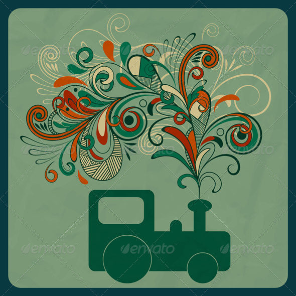 Vector SteamTrain and Floral Smoke - Travel Conceptual