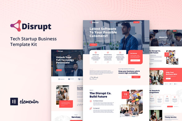 Disrupt - Tech Startup Business Elementor Template Kit