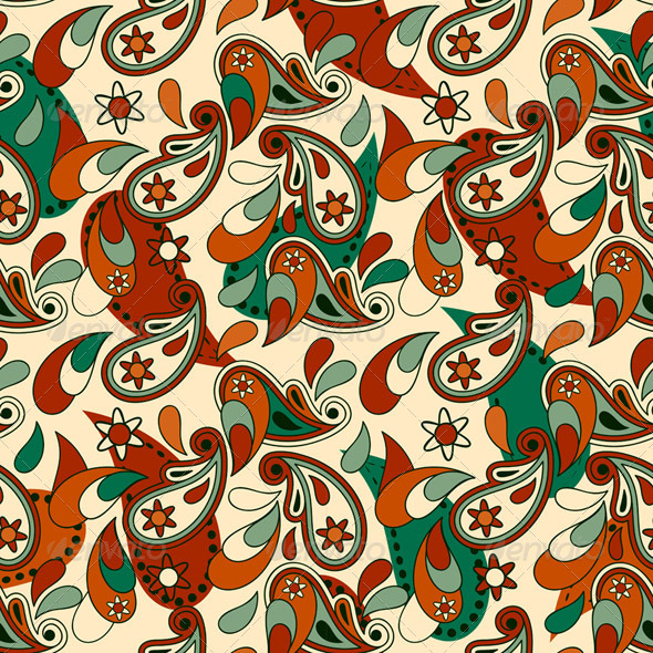 Vector Seamless Pailsey Pattern - Patterns Decorative