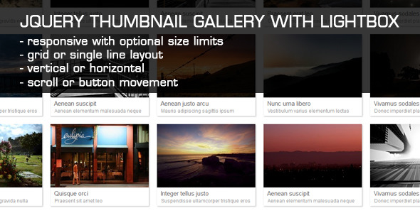 JQuery Thumbnail Gallery With LightBox - CodeCanyon Item for Sale