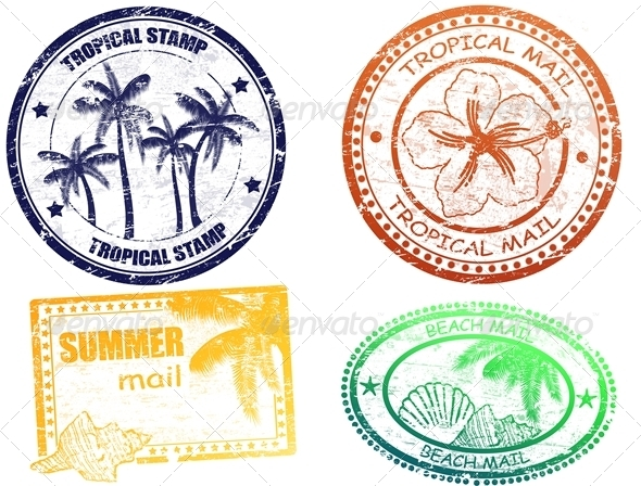 Tropical summer stamps - Travel Conceptual