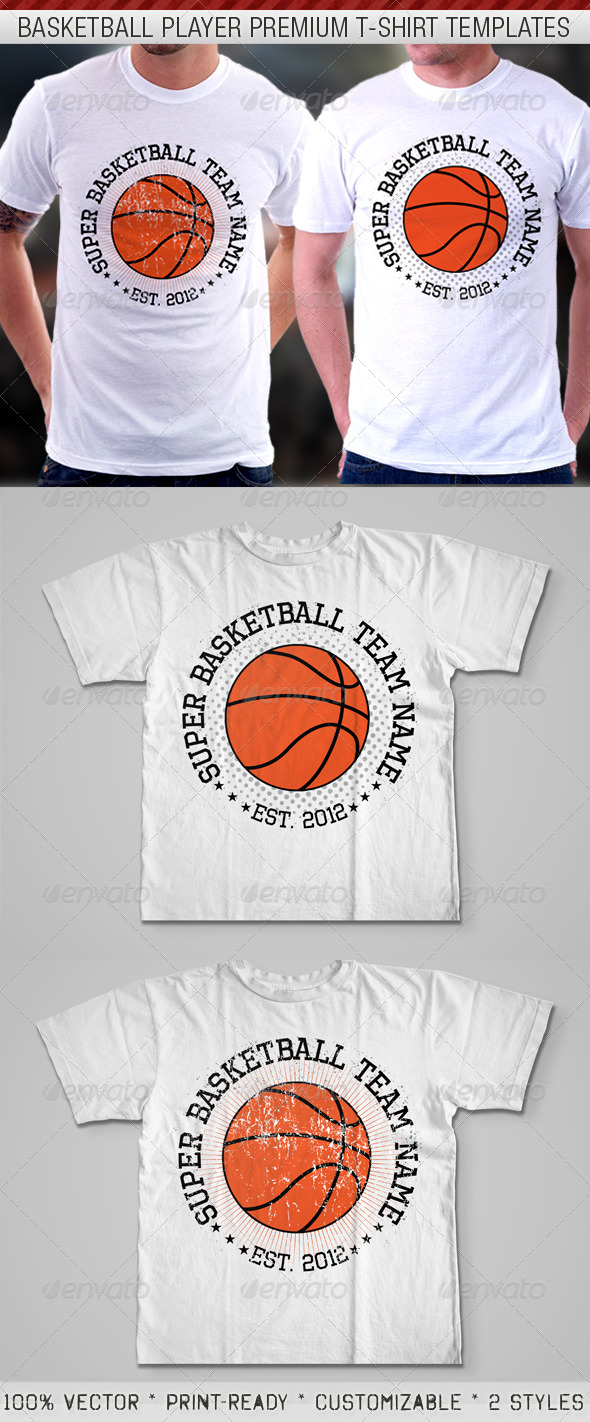 Basketball Player Premium T-Shirt Template  - Sports & Teams T-Shirts