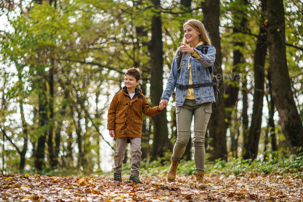 Hiking in forest - Stock Photo - Images