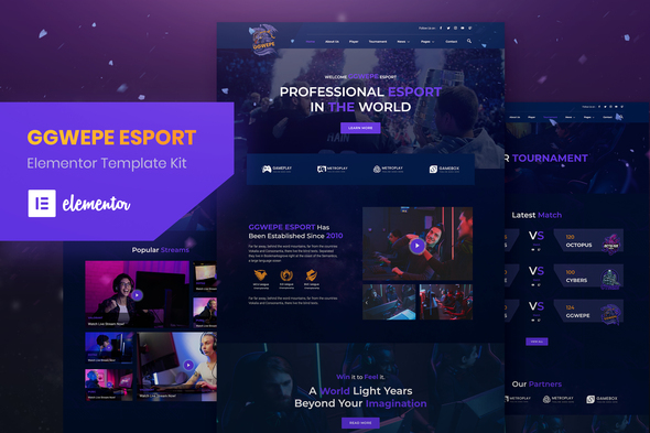 GGWEPE – Esports & Gaming Elementor Template Kit