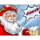 Blinking Santa Claus in Helmet and with a Glass