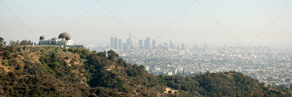 Skyline of Los Angeles with the Griffith observatory in the foreground, California, USA - Stock Photo - Images