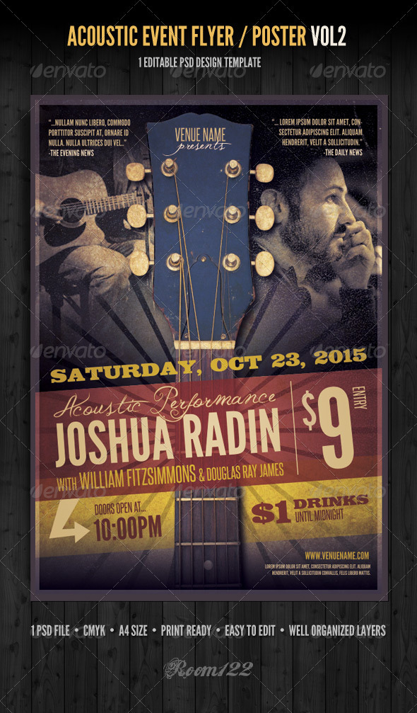 Acoustic Event Flyer/Poster Template Vol 2 - Concerts Events