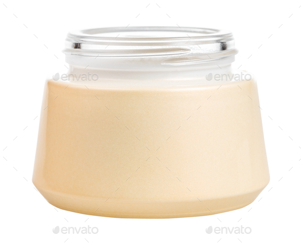 open shiny glass jar for cosmetic cream isolated - Stock Photo - Images