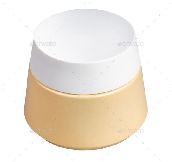 closed shiny jar for cosmetic cream isolated - Stock Photo - Images
