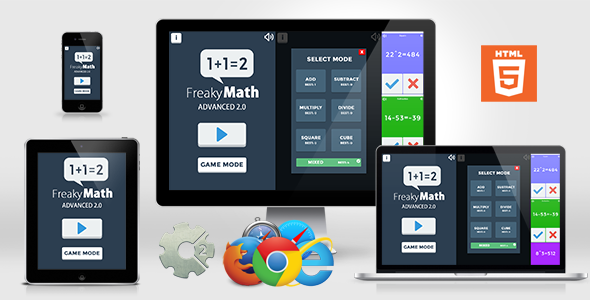 Freaky Math Advanced 2.0 - Educational HTML5 GAme
