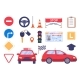 Driving Car Auto School Element Set Isolated
