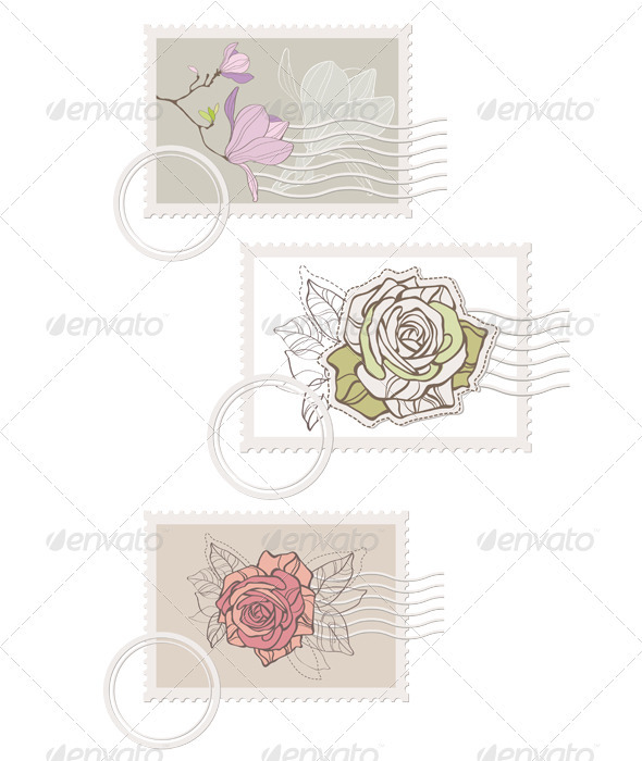 Blank post stamp with rose  - Objects Vectors