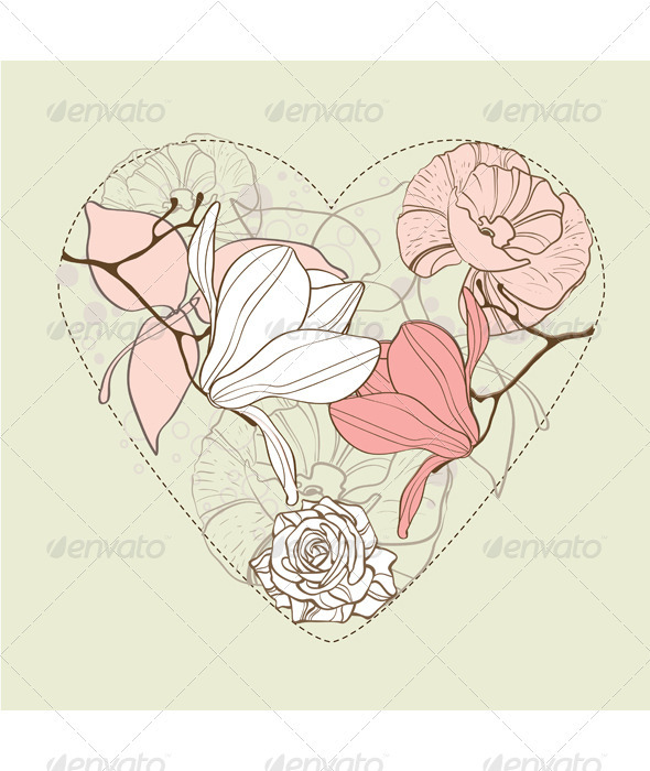 Valentine beautiful card with heart  - Valentines Seasons/Holidays