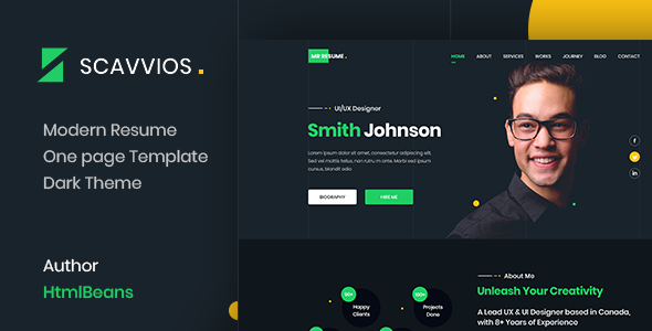 Scavvios | One Page Parallax HTML5 Template