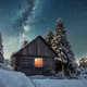 Fantastic winter landscape with wooden house in snowy mountains - PhotoDune Item for Sale