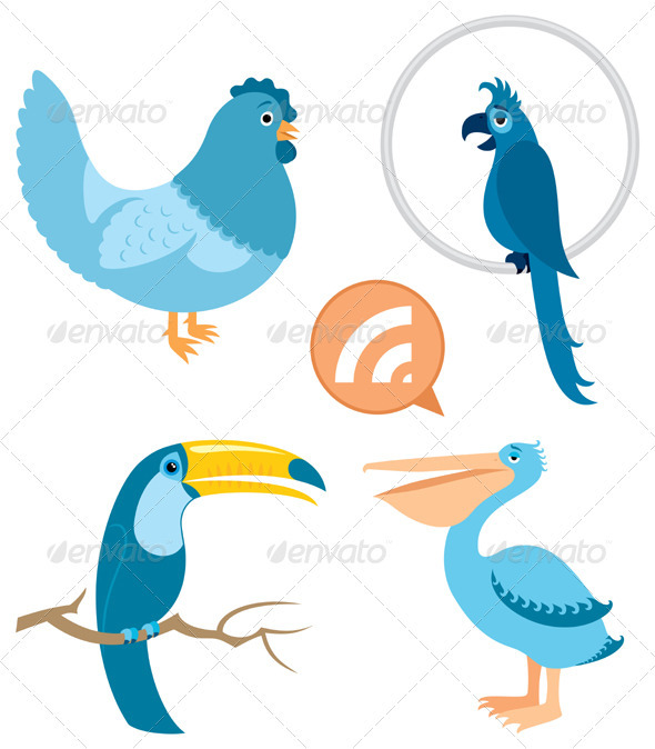 Blue Birds Part 1 - Decorative Symbols Decorative