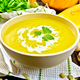 Soup-puree pumpkin with cream in bowl on napkin - PhotoDune Item for Sale