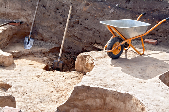 Tools at the site Archaeological excavations - Stock Photo - Images