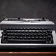 old retro typewriter at wooden table - PhotoDune Item for Sale