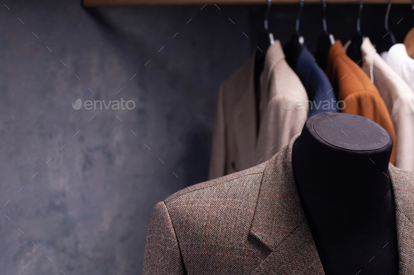 blazer jacket on male tailor mannequin - Stock Photo - Images
