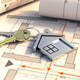 House keys and construction blueprint plans, Residential development project. 3d illustration - PhotoDune Item for Sale