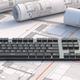 Computer keyboard on blueprint plans background. 3d illustration - PhotoDune Item for Sale