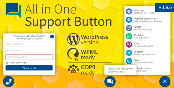 All in One Support Button + Callback Request. WhatsApp, Messenger, Telegram, LiveChat and more... Nulled