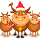 Christmas And Happy New Year Greeting With Bulls