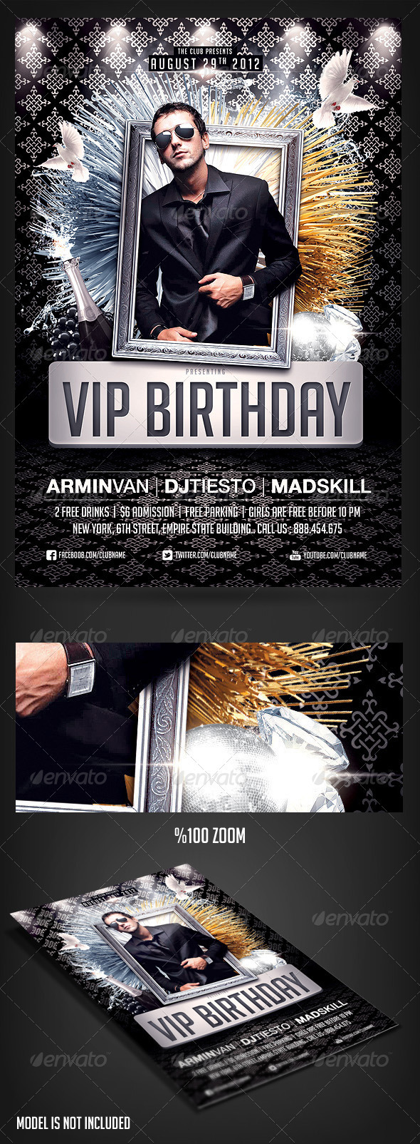 VIP Birthday Party Flyer By Saltshaker GraphicRiver - Birthday invitation template graphicriver