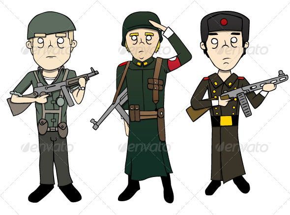 World War 2 Soldiers - Illustrations - People Characters