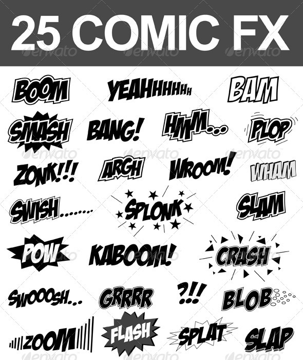 25 Comic Sound FX (Vector Set) - Decorative Symbols Decorative