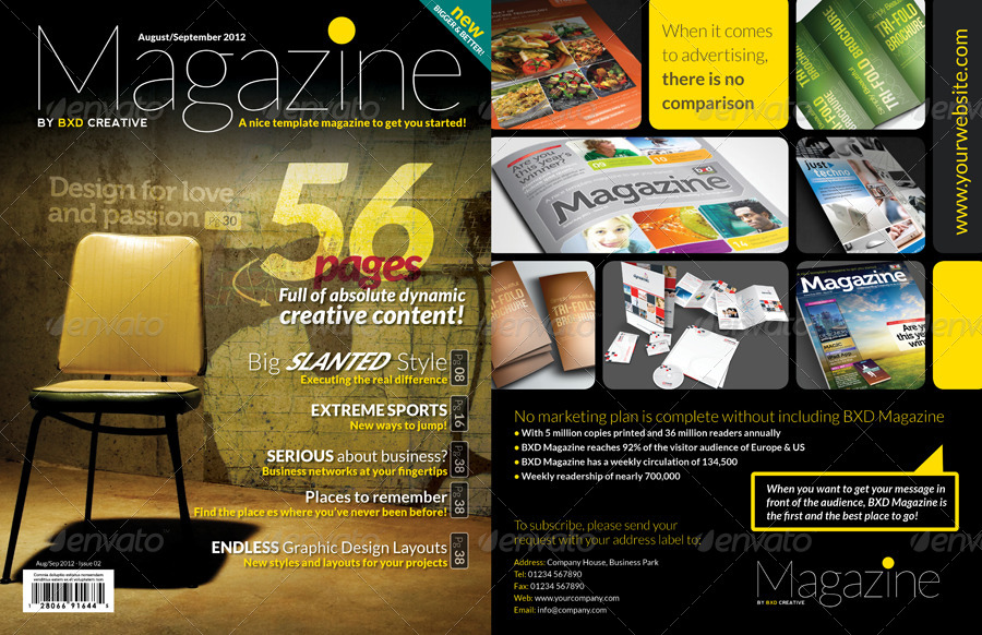 Magazine Template - InDesign 56 Page Layout V2 by BoxedCreative ...