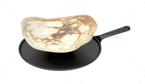 Frying pan and pancake - Stock Photo - Images
