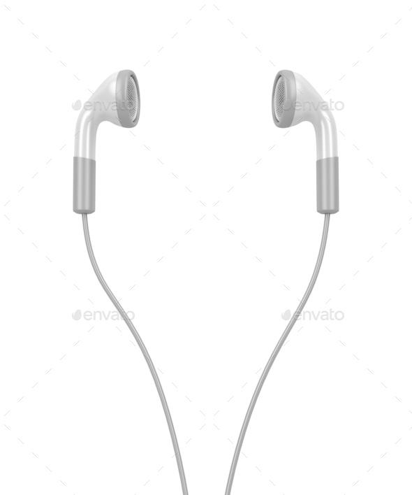 White modern earphones - Stock Photo - Images