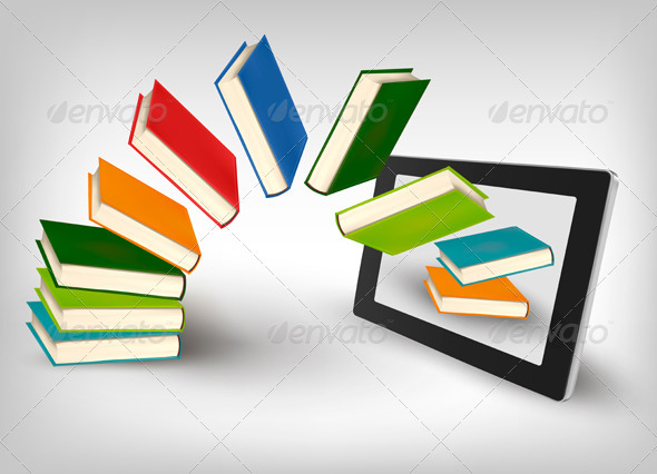 Books flying in a tablet. Vector illustration.  - Concepts Business