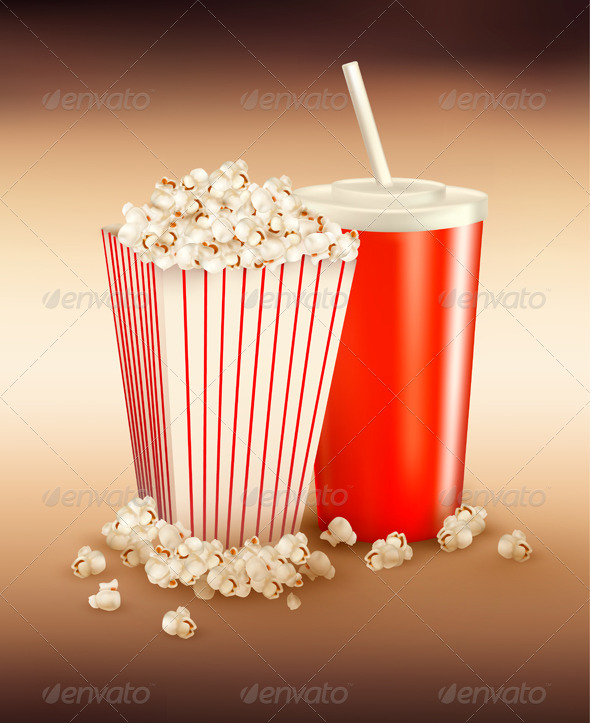 Popcorn and a drink. Vector illustration.  - Food Objects