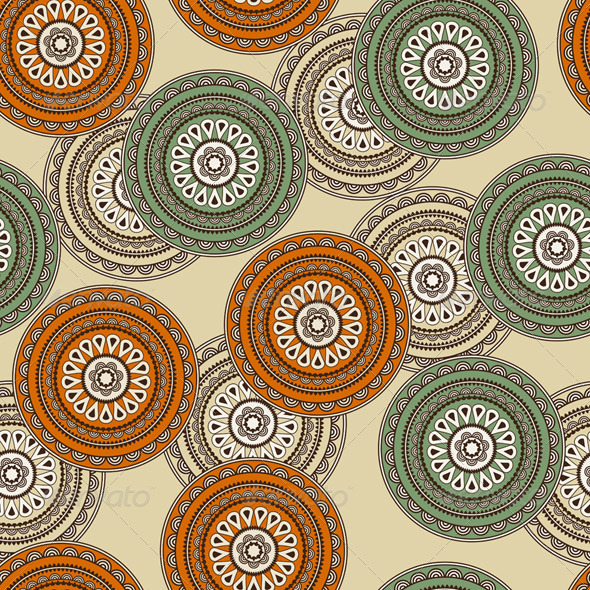 Vector Seamless Background in Oriental Style - Patterns Decorative
