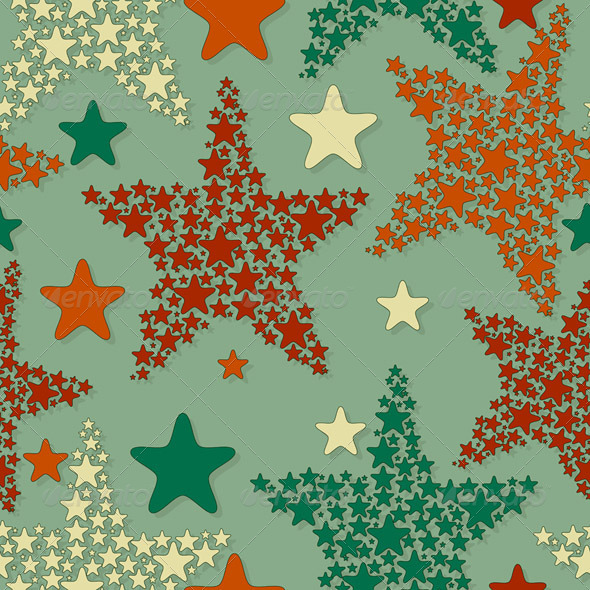Vector Seamless Pattern With Christmas Stars - Patterns Decorative
