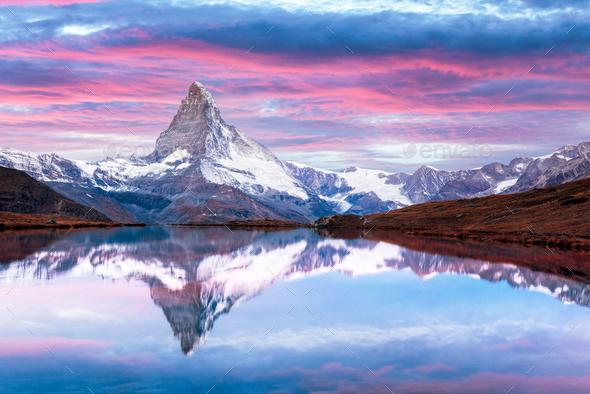 Matterhorn peak on Stellisee lake - Stock Photo - Images
